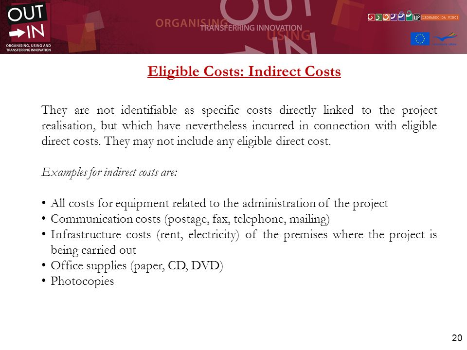 Eligible Costs: Indirect Costs