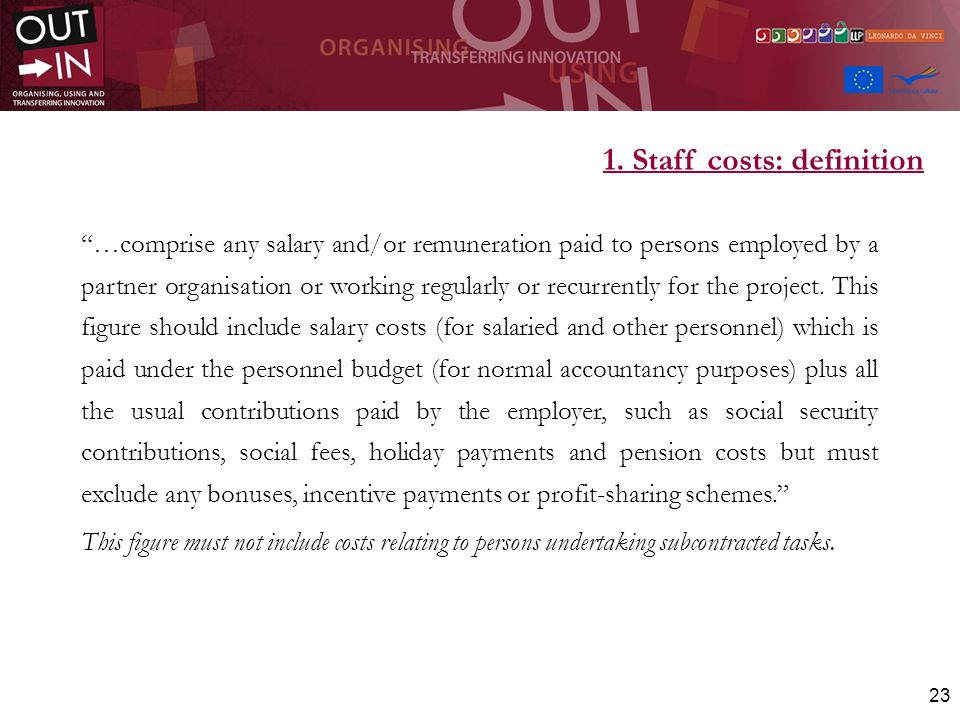 1. Staff costs: definition