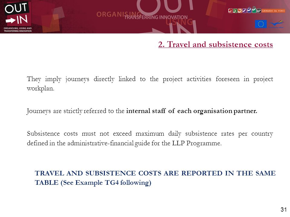 2. Travel and subsistence costs