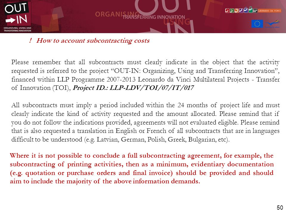 ! How to account subcontracting costs