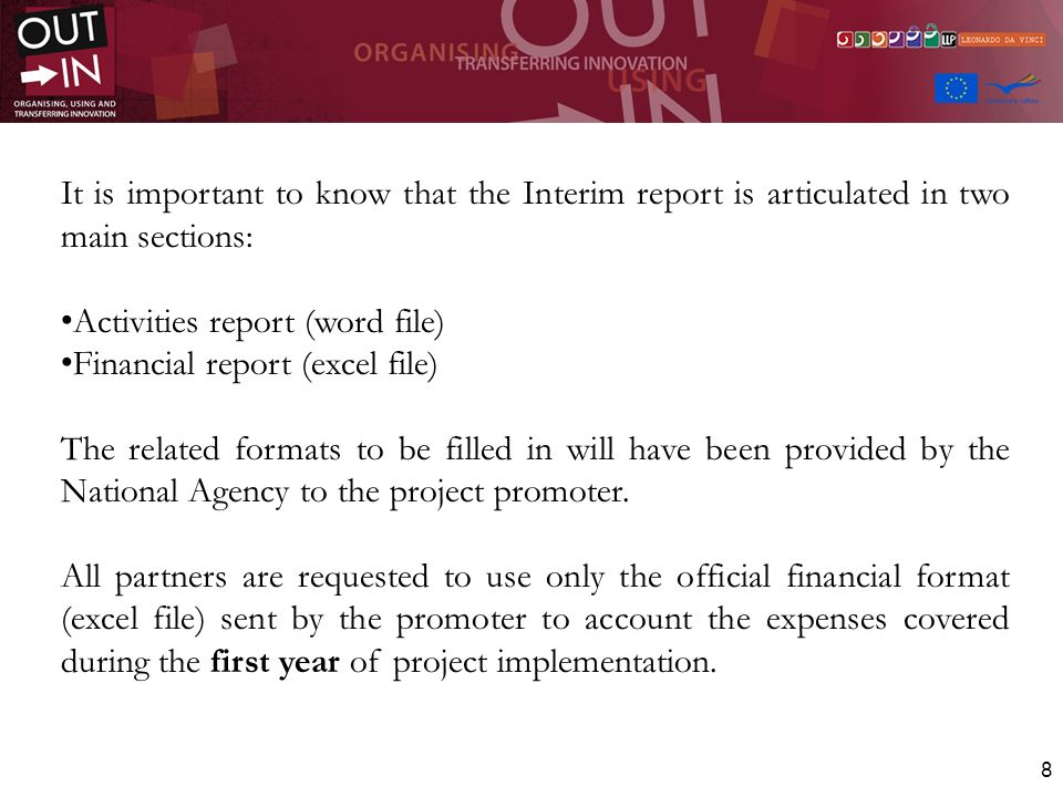 It is important to know that the Interim report is articulated in two main sections: