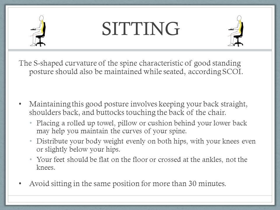 SITTING The S-shaped curvature of the spine characteristic of good standing posture should also be maintained while seated, according SCOI.