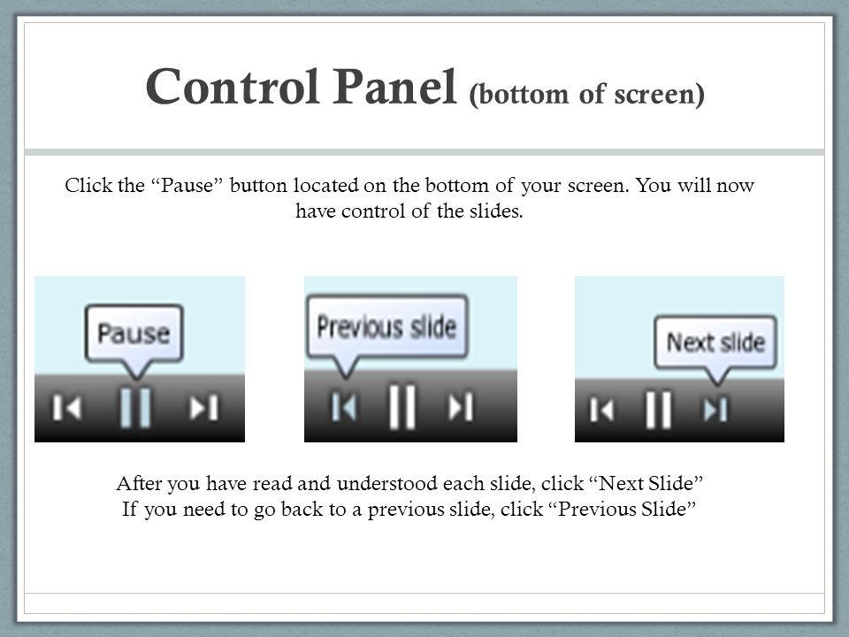 Control Panel (bottom of screen)