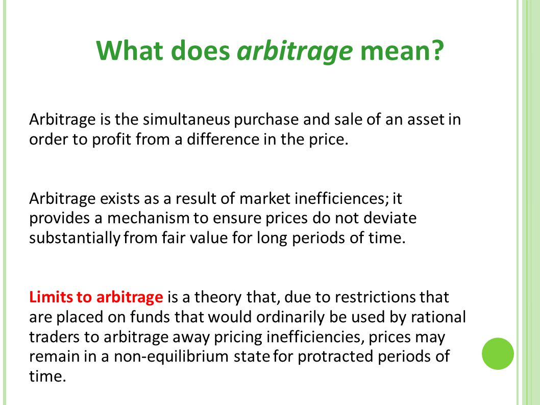 What does arbitrage mean