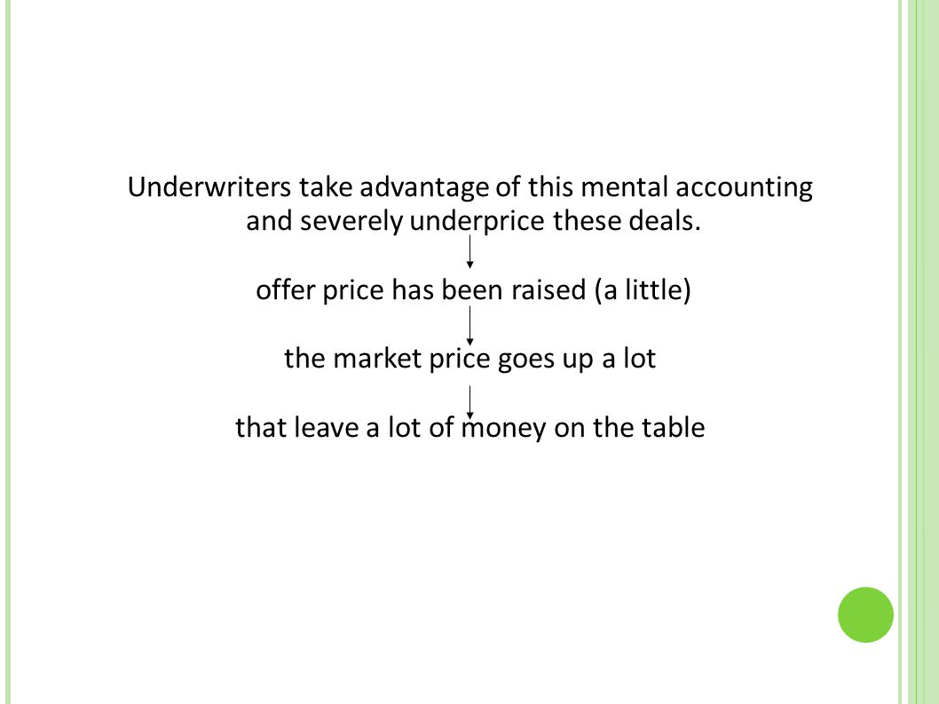 Underwriters take advantage of this mental accounting