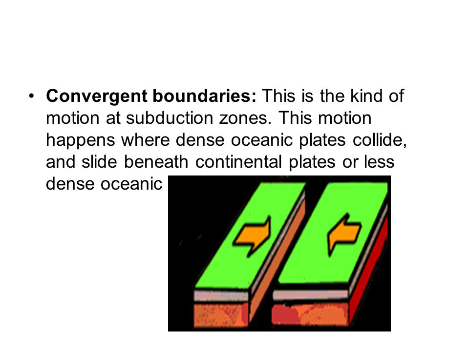 Convergent boundaries: This is the kind of motion at subduction zones
