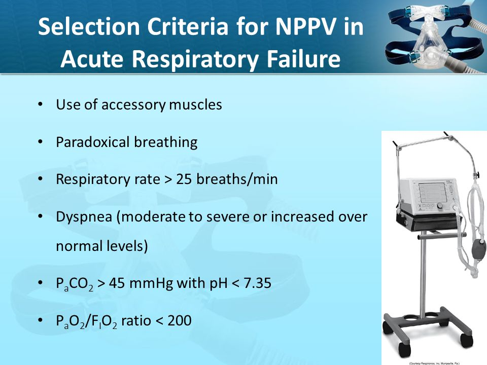 Selection Criteria for NPPV in Acute Respiratory Failure