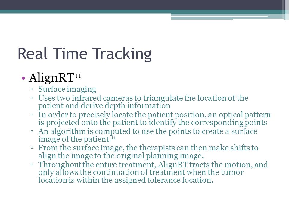 Real Time Tracking AlignRT11 Surface imaging