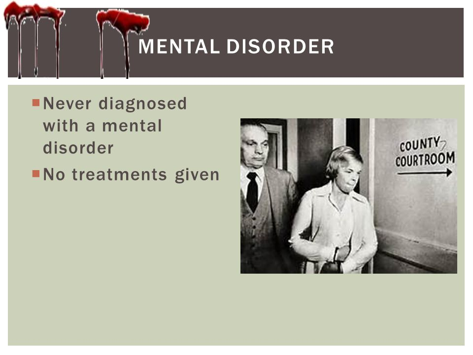 Mental disorder Never diagnosed with a mental disorder
