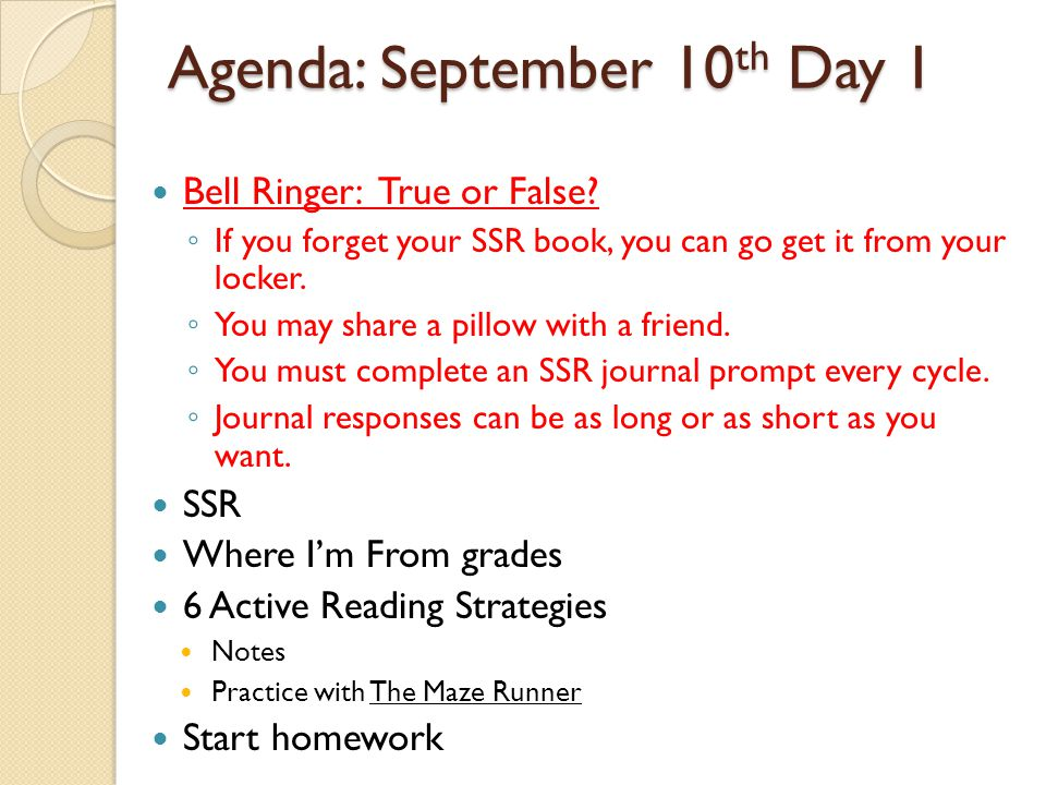 Agenda: September 10th Day 1