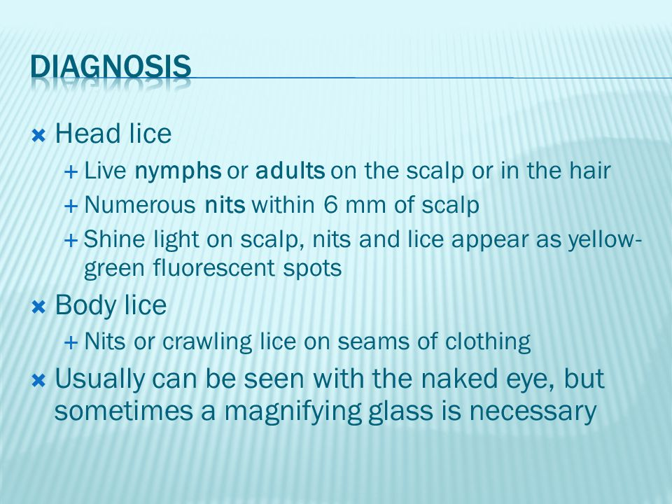 Diagnosis Head lice Body lice