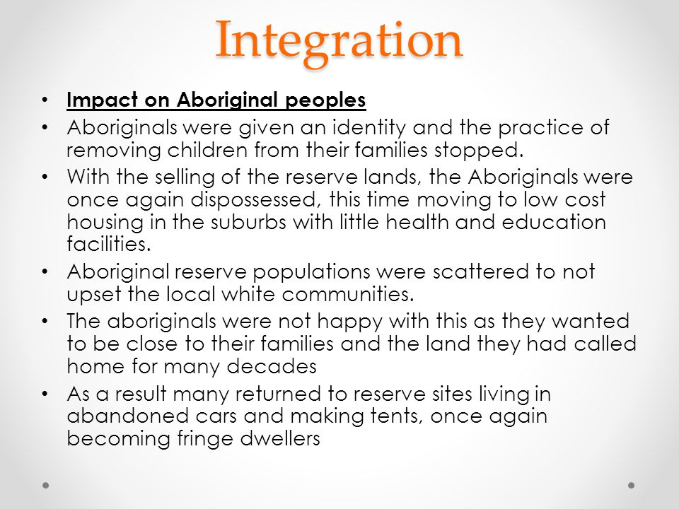 Integration Impact on Aboriginal peoples