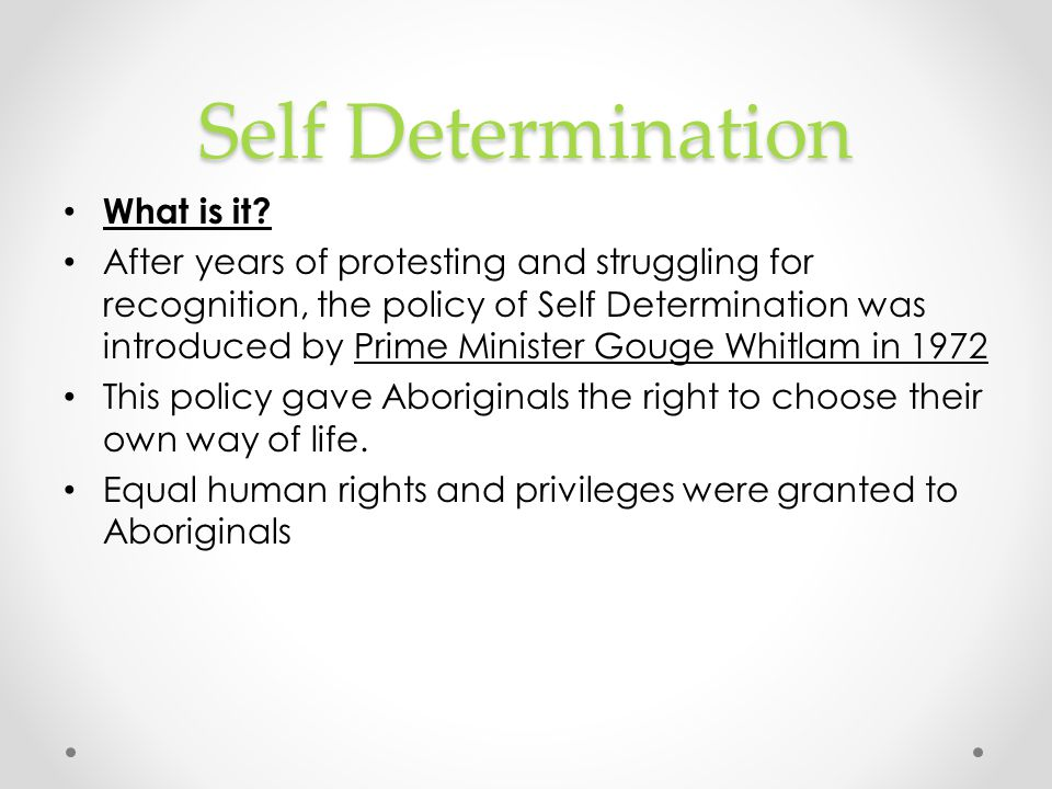 Self Determination What is it
