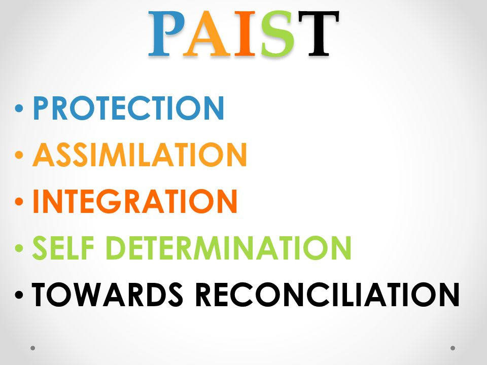 PAIST PROTECTION ASSIMILATION INTEGRATION SELF DETERMINATION