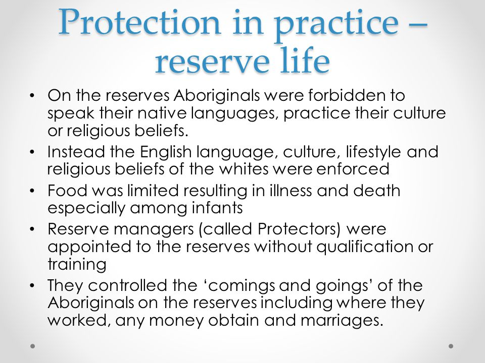 Protection in practice – reserve life