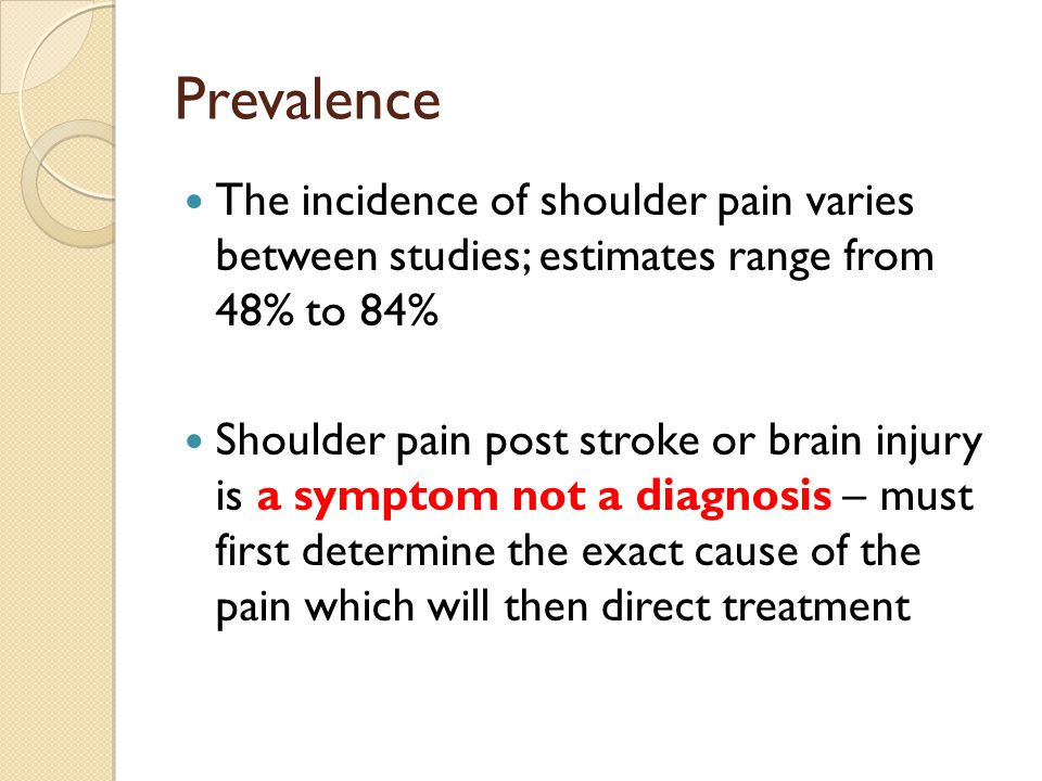 Prevalence The incidence of shoulder pain varies between studies; estimates range from 48% to 84%