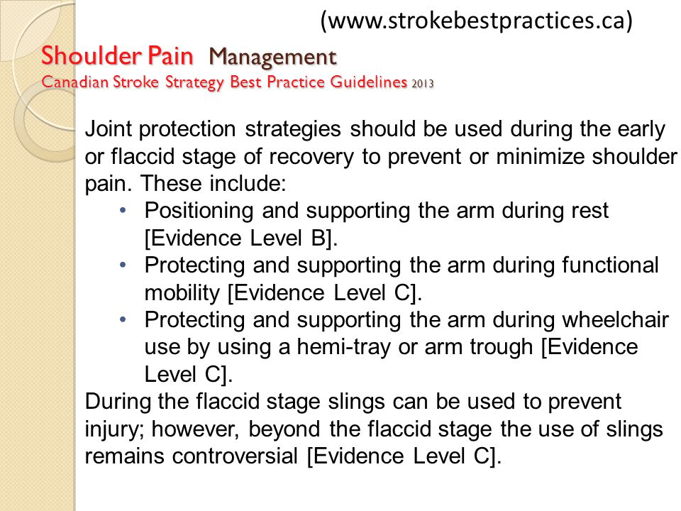 (www.strokebestpractices.ca) Shoulder Pain Management Canadian Stroke Strategy Best Practice Guidelines 2013.