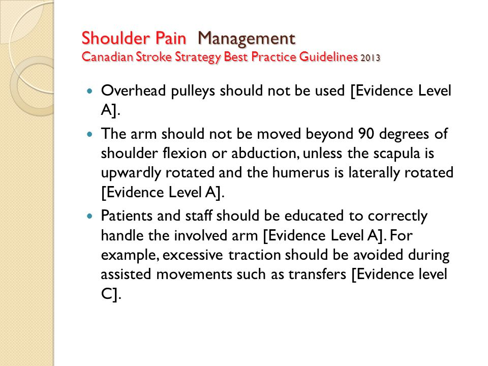 Shoulder Pain Management Canadian Stroke Strategy Best Practice Guidelines 2013