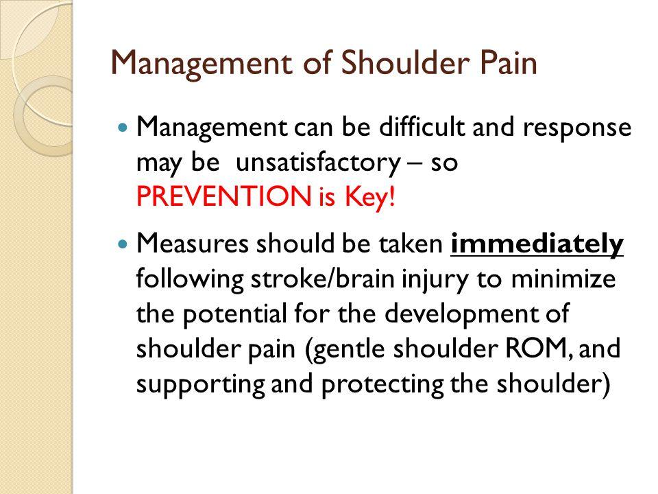 Management of Shoulder Pain