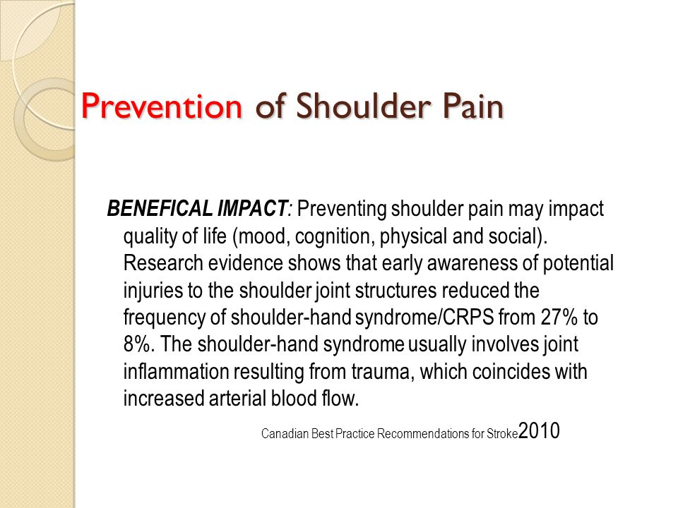 Prevention of Shoulder Pain