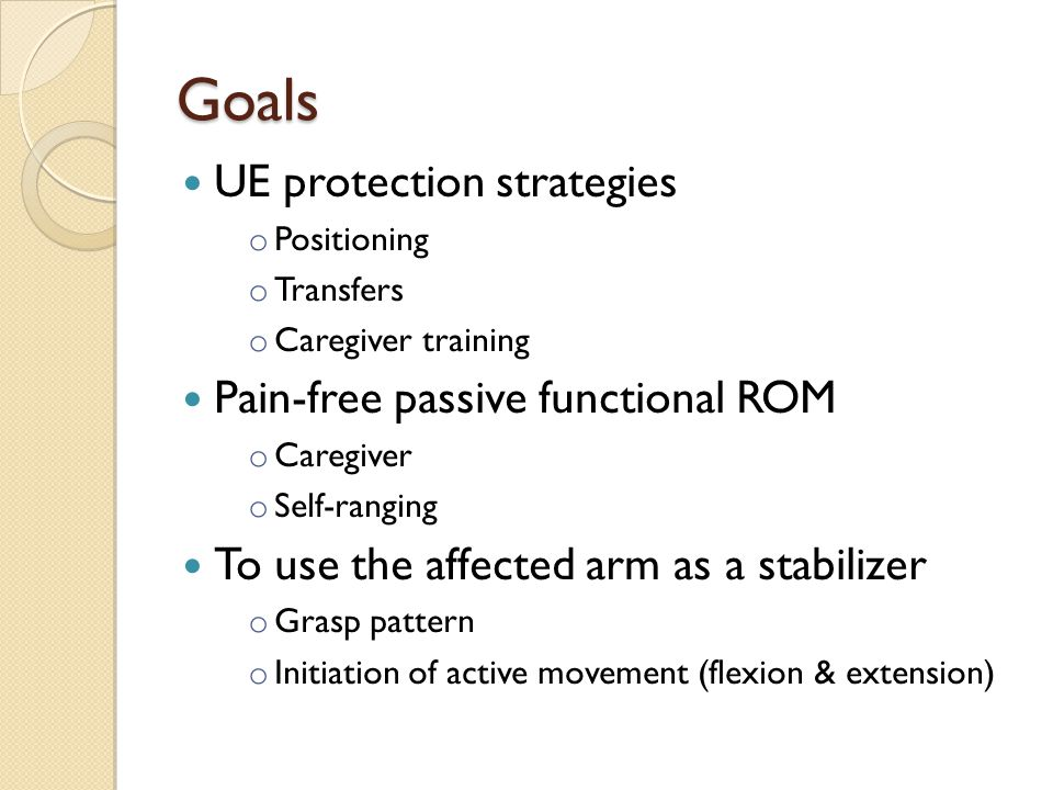 Goals UE protection strategies Pain-free passive functional ROM