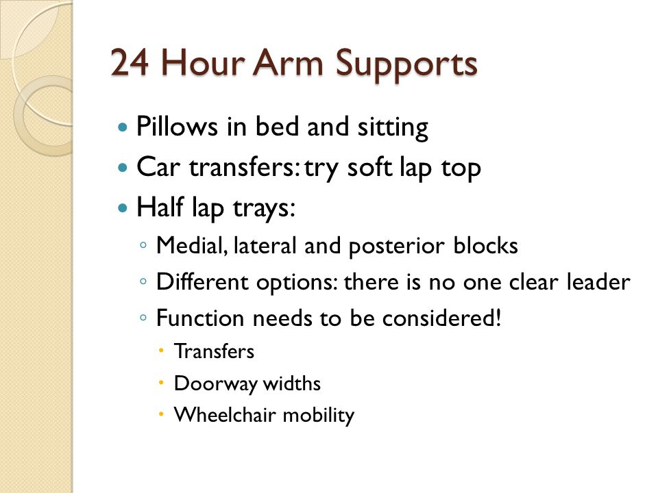 24 Hour Arm Supports Pillows in bed and sitting