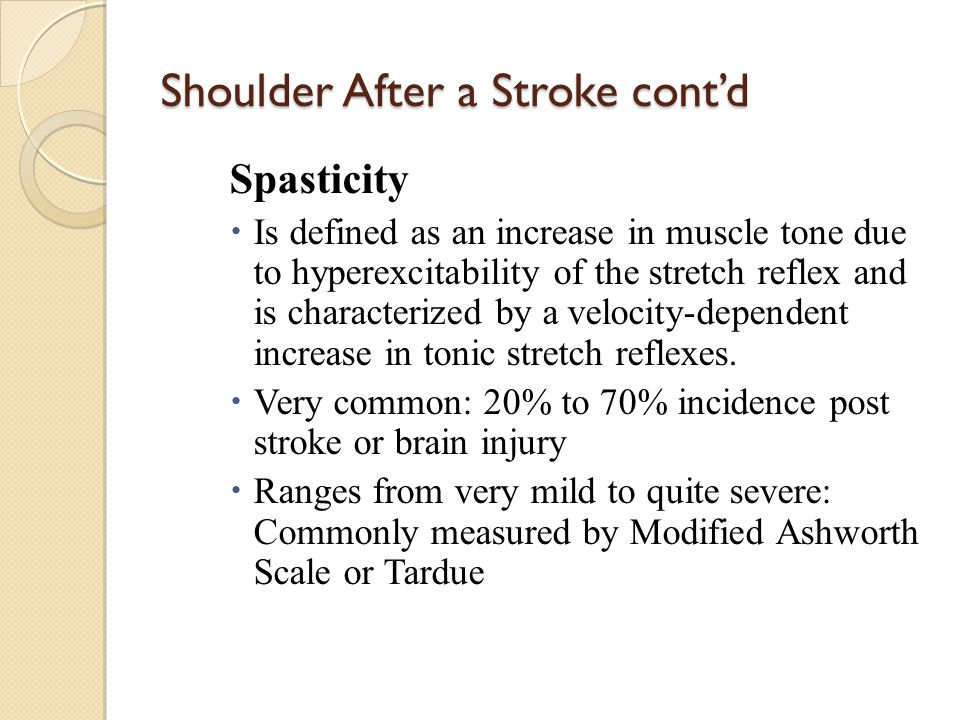 Shoulder After a Stroke cont'd