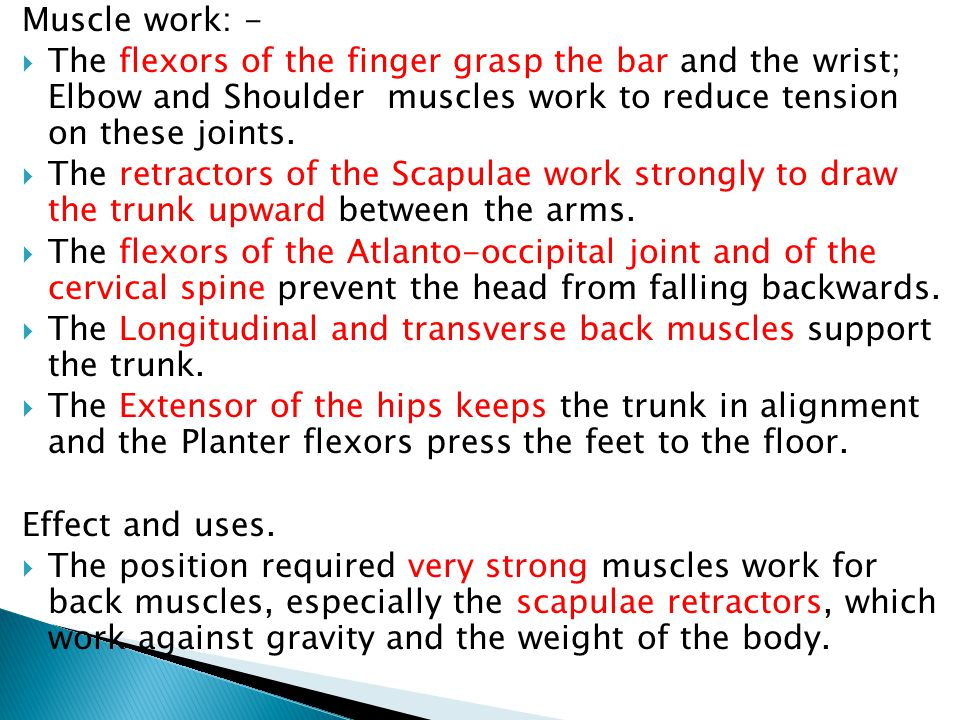 Muscle work: - The flexors of the finger grasp the bar and the wrist; Elbow and Shoulder muscles work to reduce tension on these joints.