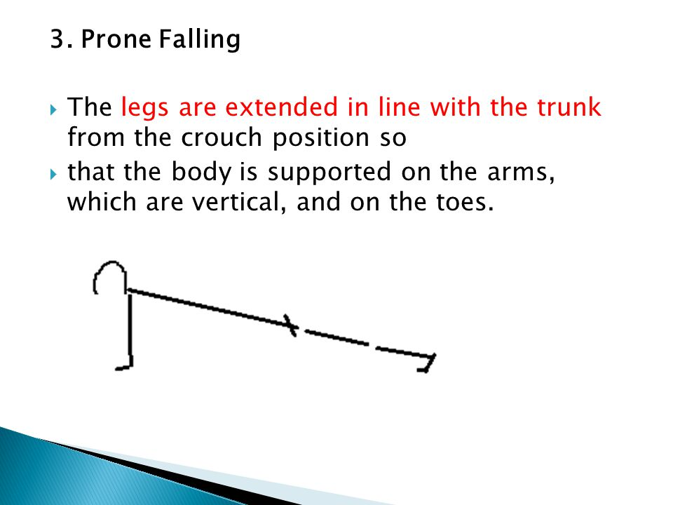 3. Prone Falling The legs are extended in line with the trunk from the crouch position so.