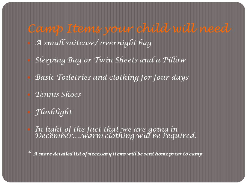 Camp Items your child will need