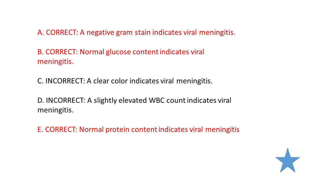 A. CORRECT: A negative gram stain indicates viral meningitis.
