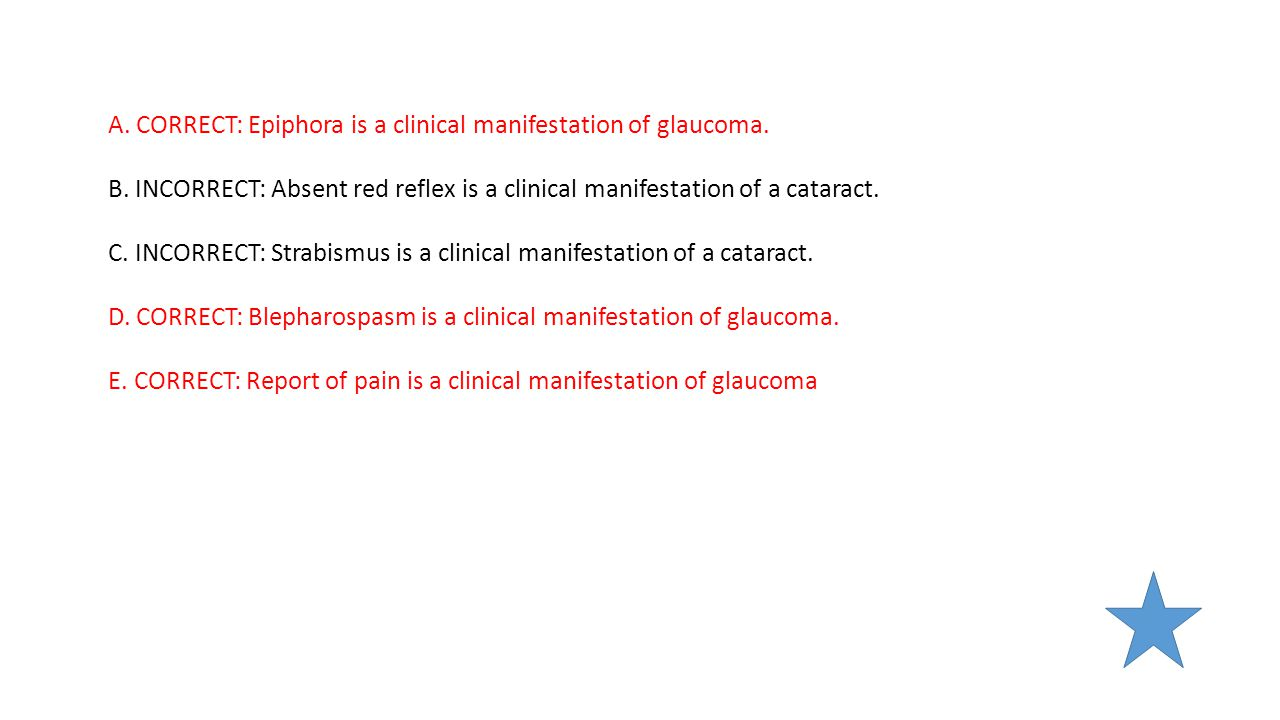 A. CORRECT: Epiphora is a clinical manifestation of glaucoma.