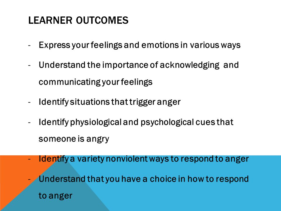 Learner Outcomes Express your feelings and emotions in various ways
