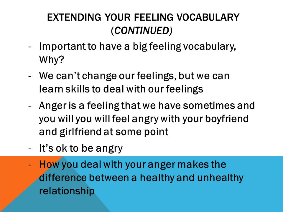 Extending your feeling vocabulary (Continued)
