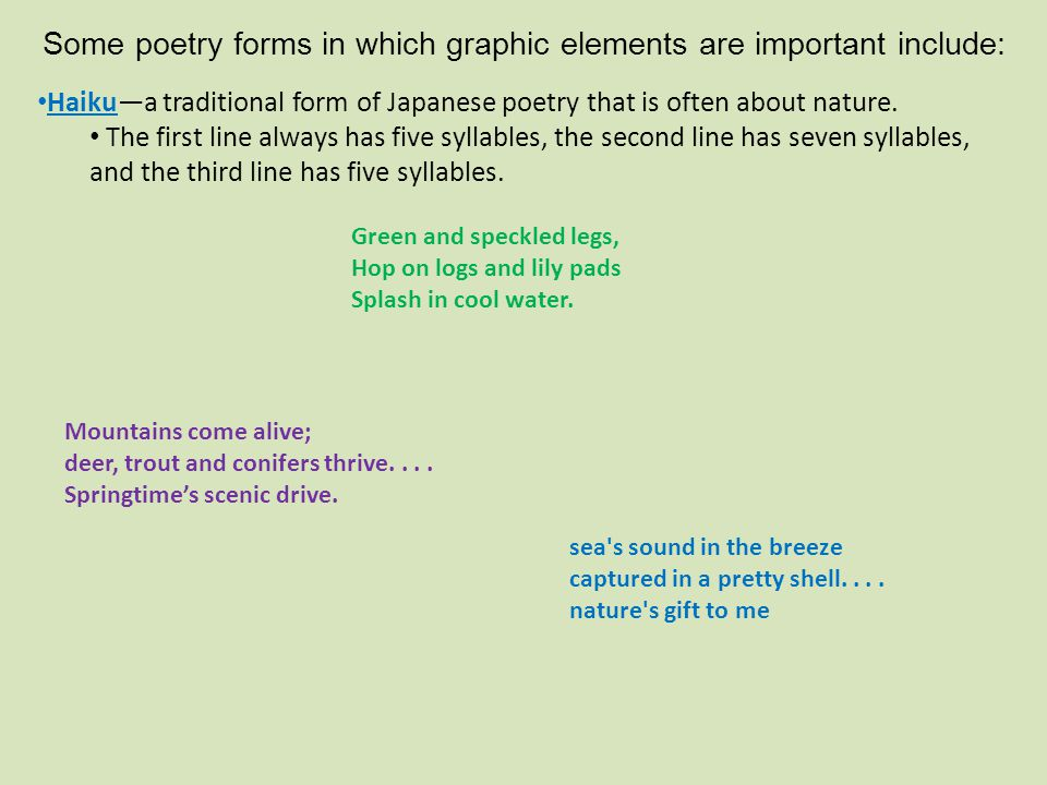 Some poetry forms in which graphic elements are important include: