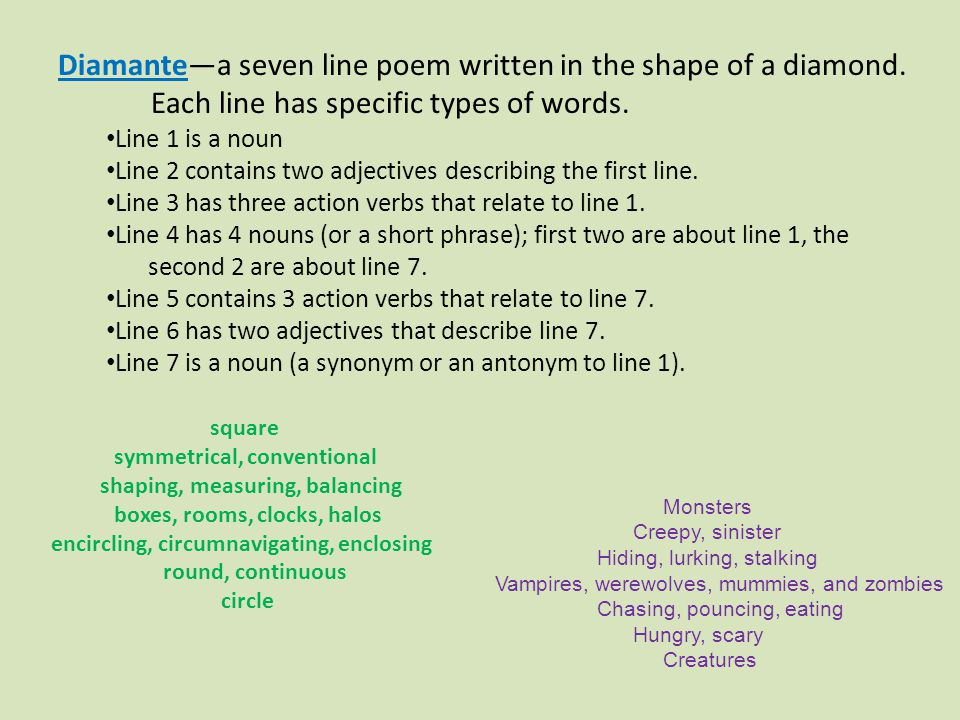 Diamante—a seven line poem written in the shape of a diamond