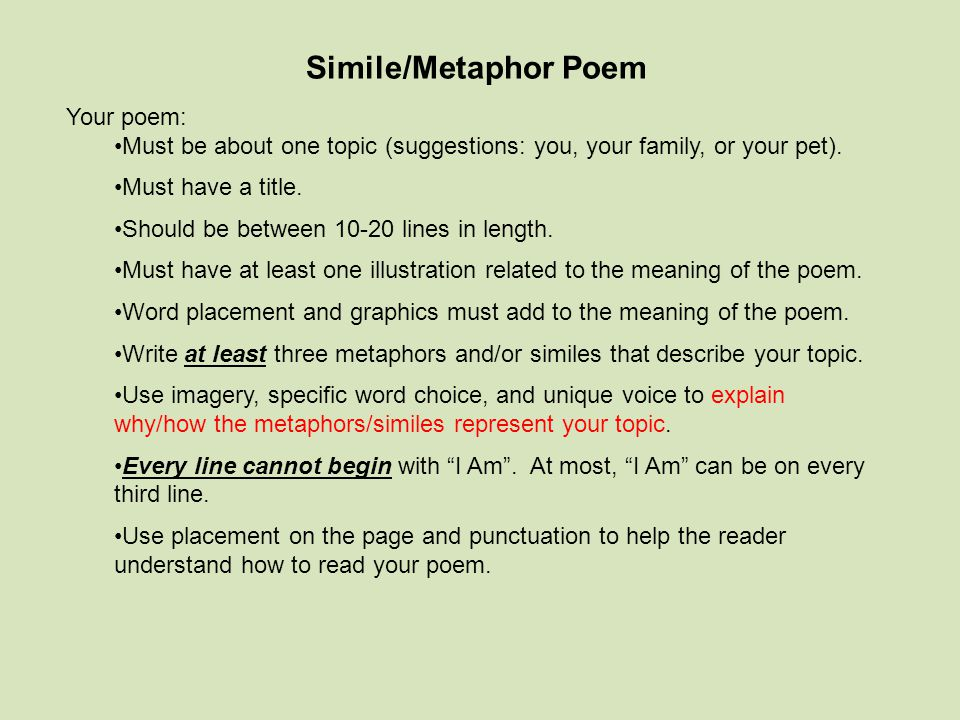 Simile/Metaphor Poem Your poem: