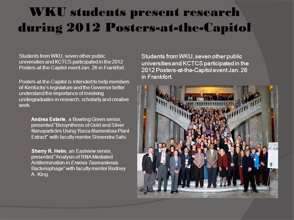 WKU students present research during 2012 Posters-at-the-Capitol