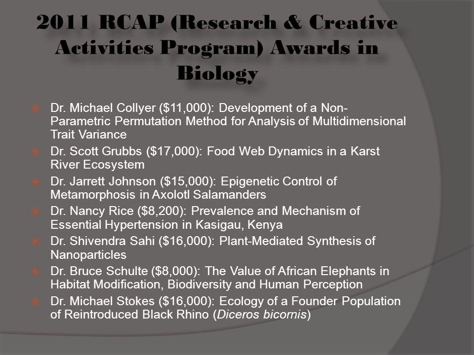 2011 RCAP (Research & Creative Activities Program) Awards in Biology