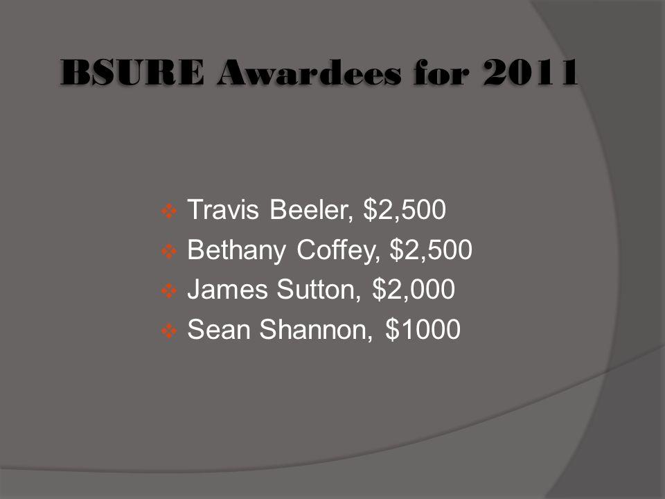 BSURE Awardees for 2011 Travis Beeler, $2,500 Bethany Coffey, $2,500