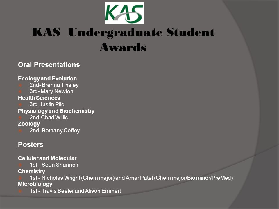 KAS Undergraduate Student Awards