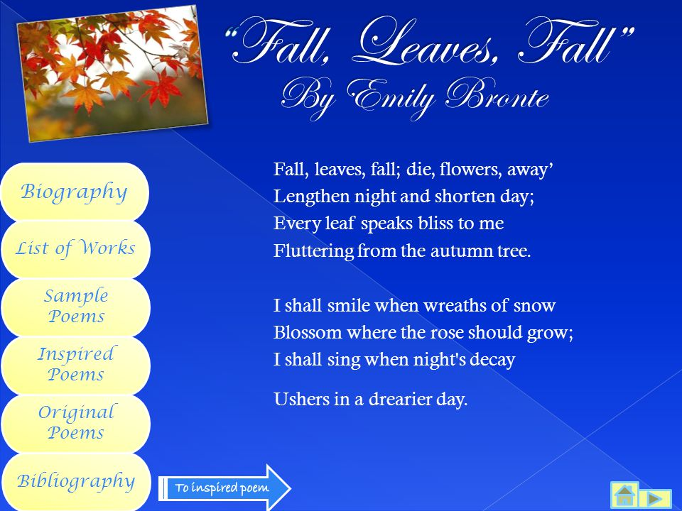 Fall, Leaves, Fall By Emily Bronte