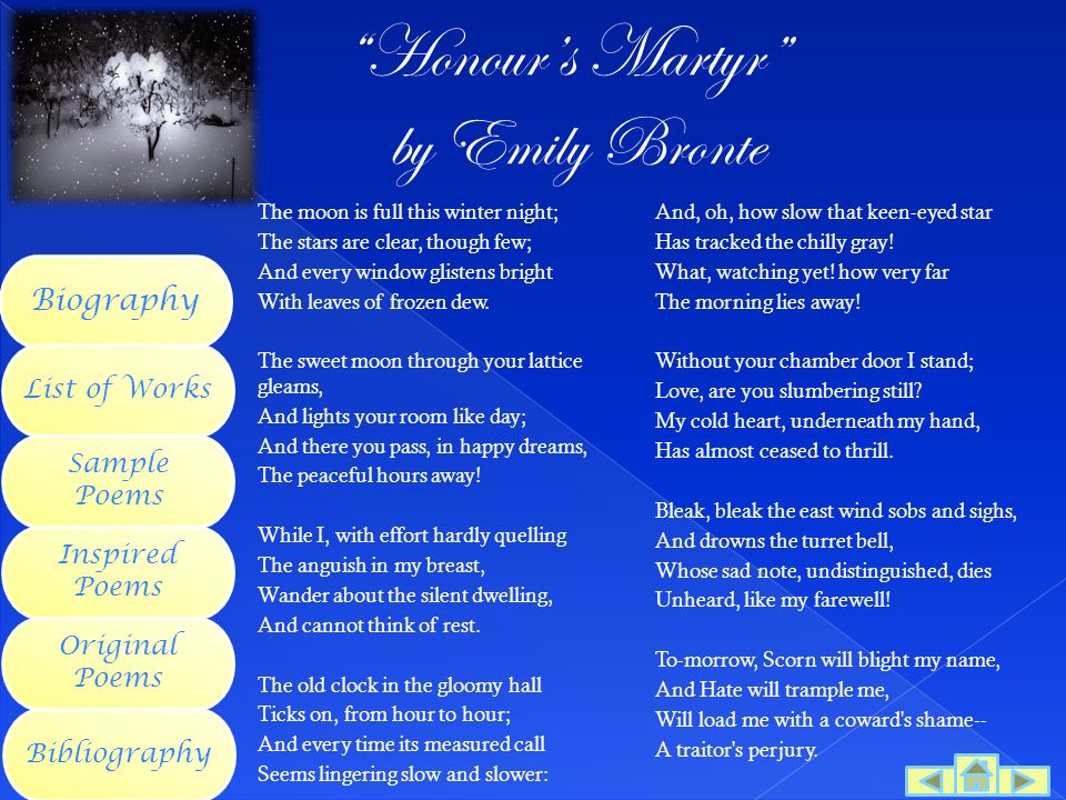 Honour's Martyr by Emily Bronte Biography List of Works Sample Poems