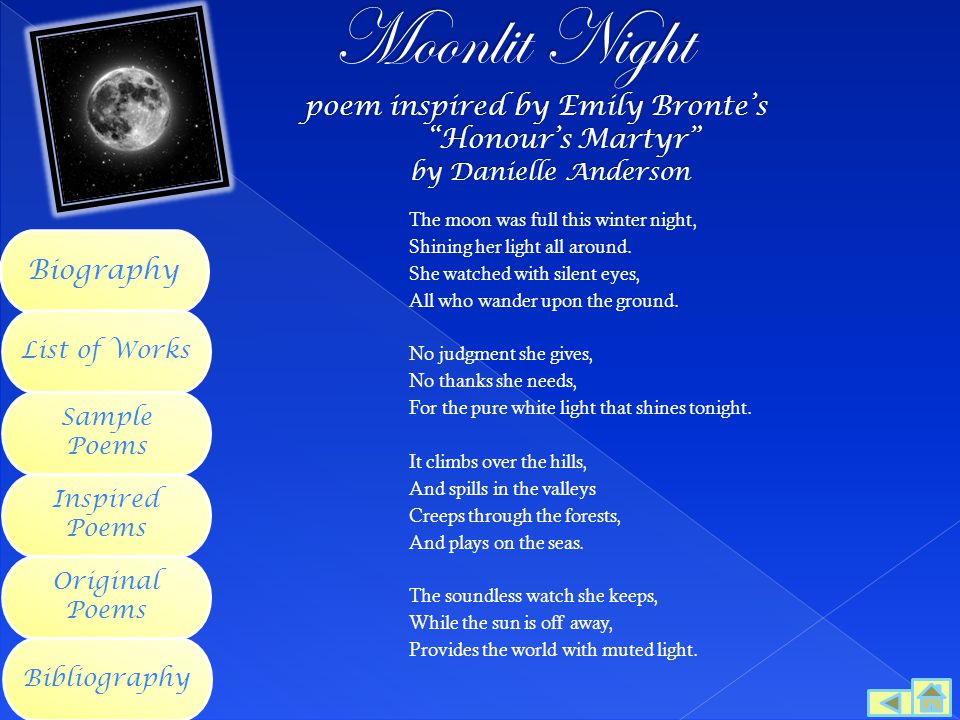 Moonlit Night poem inspired by Emily Bronte's. Honour's Martyr