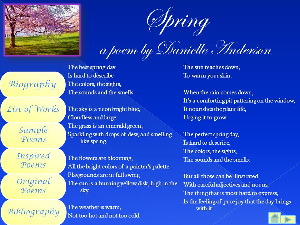 Spring a poem by Danielle Anderson