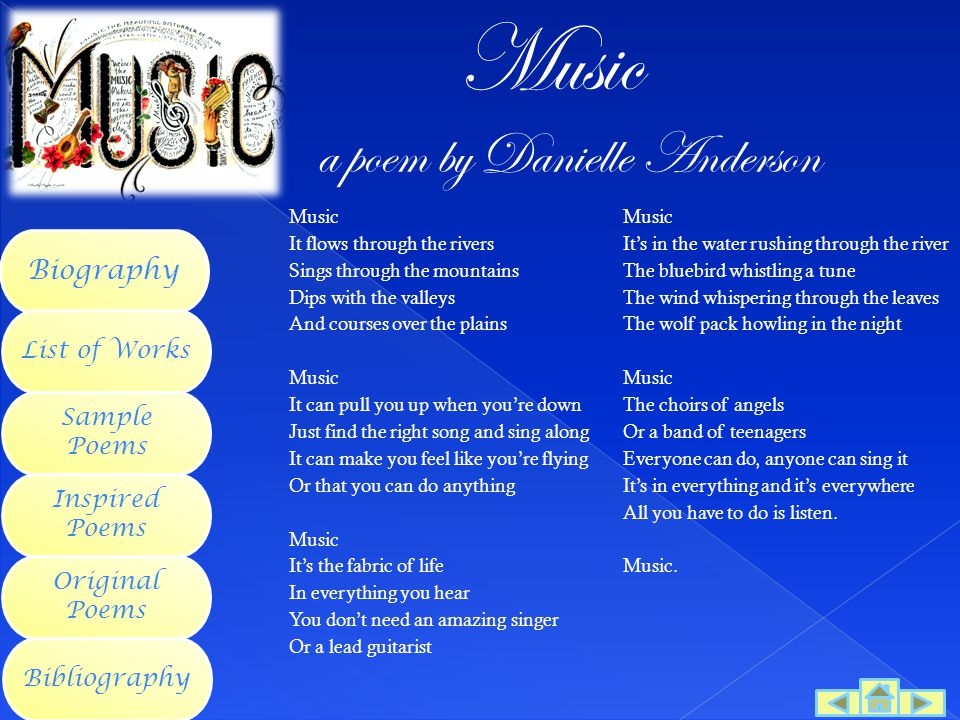 Music a poem by Danielle Anderson