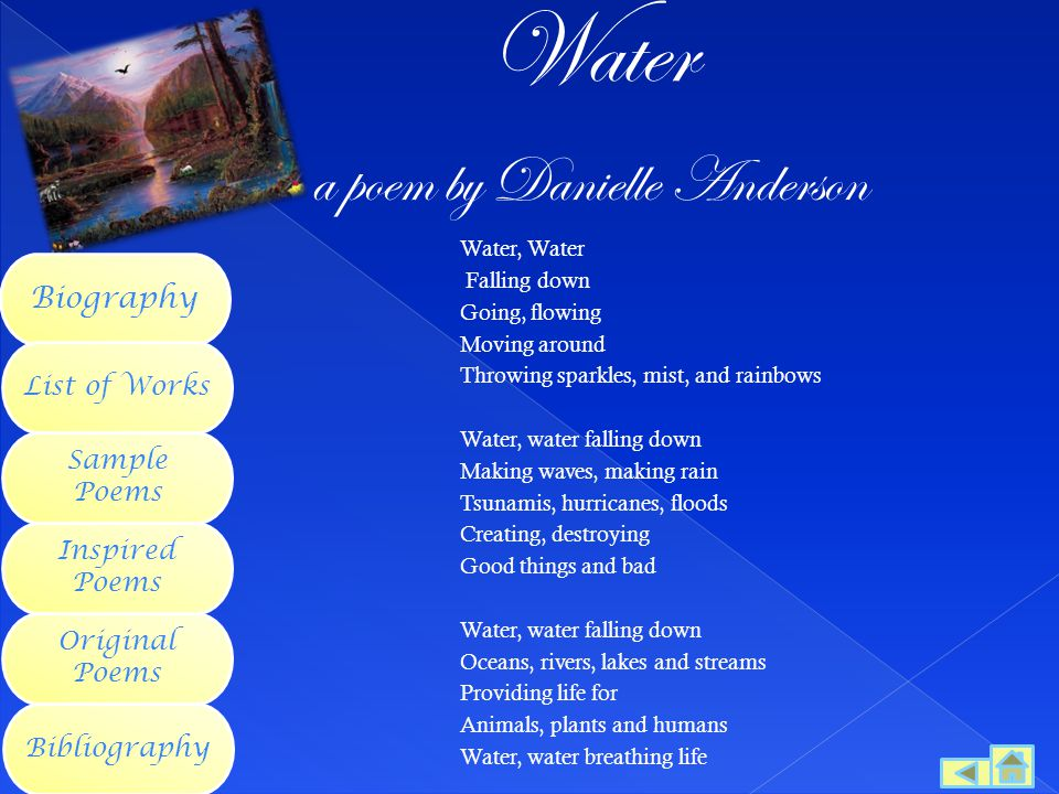 Water a poem by Danielle Anderson