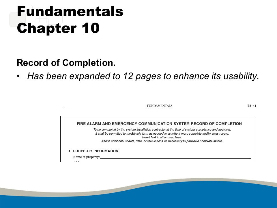 Fundamentals Chapter 10 Record of Completion.
