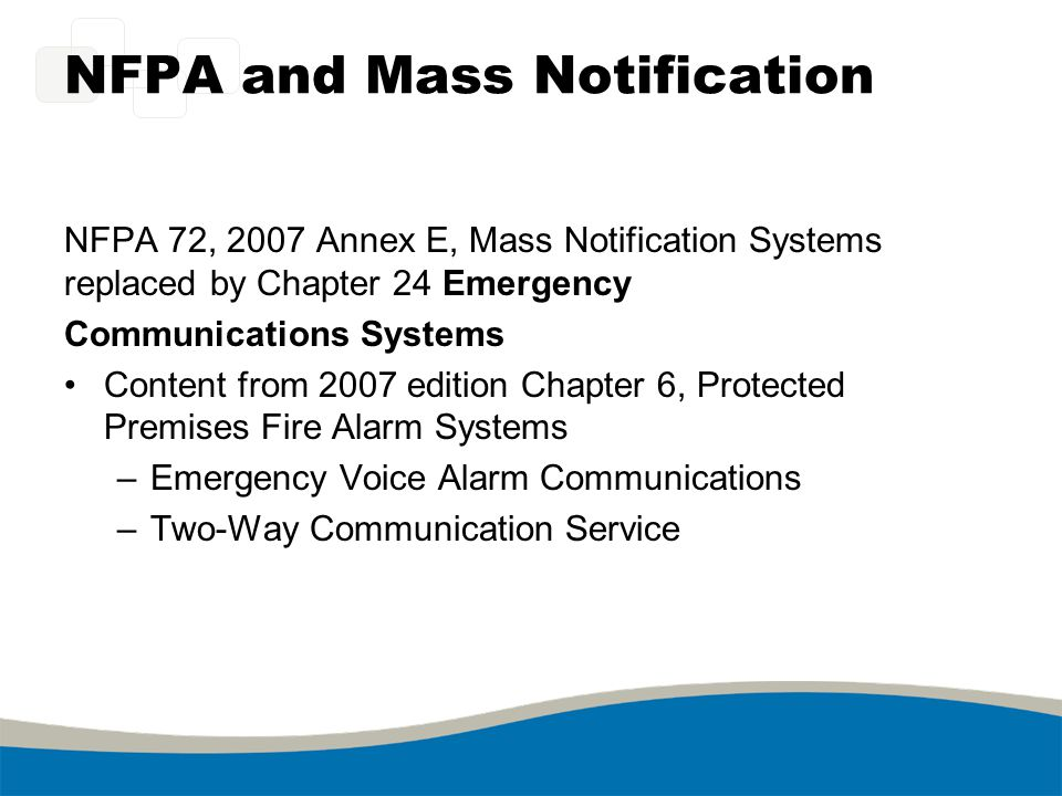NFPA and Mass Notification