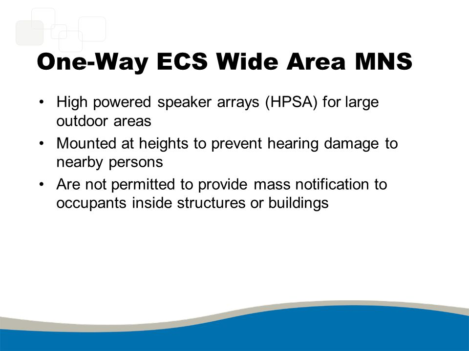 One-Way ECS Wide Area MNS